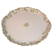 Porcelain Haviland Limoges Round Platter Green Floral Plate with Pink Roses