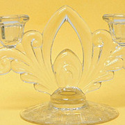 SALE Cambridge Glass Rose Point 2-Lite Double Candleholder Candlestick