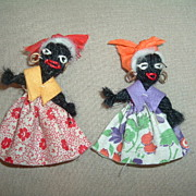 "Pair 2"" Yarn and Cloth Vintage Black Women Dolls"