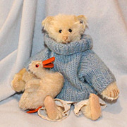 SOLD 1908 white Steiff 8 inch Teddy Bear w FF button - Spencer