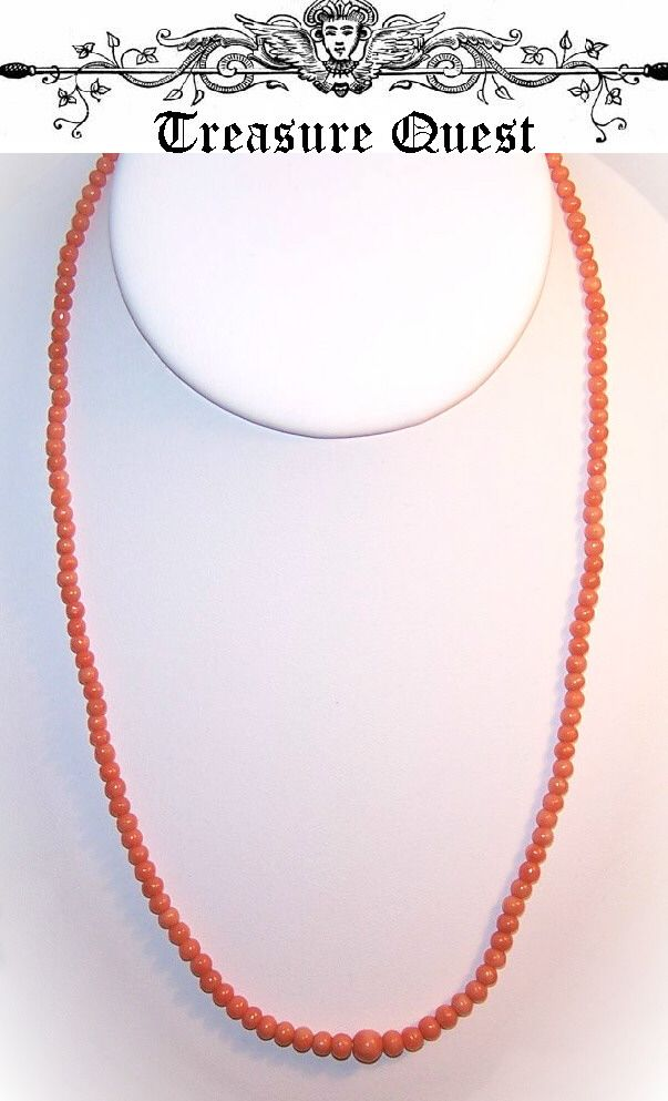 ANTIQUE VICTORIAN Salmon Coral Necklace - Graduated Beads!