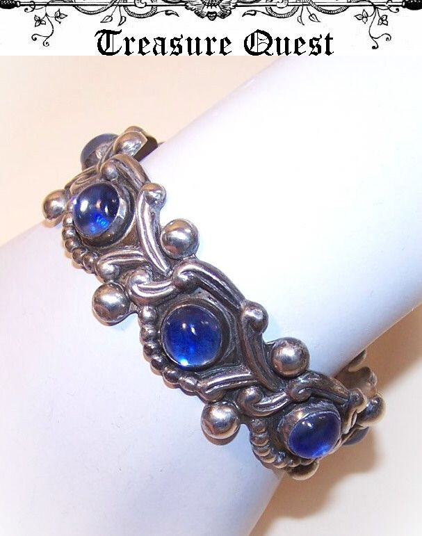 Vintage STERLING SILVER & Blue Glass Cuff Bracelet from Mexico!