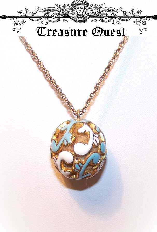 ANTIQUE VICTORIAN Gold Filled & Enamel Perfume Ball Pendant!