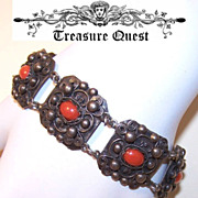 Vintage EUROPEAN 800 Silver & Red Coral Filigree Bracelet!
