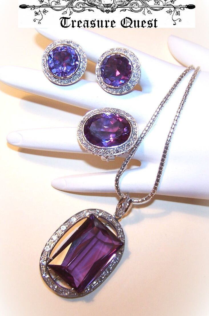 SPECTACULAR Custom Made 10K White Gold, 91.23CT TW Diamond & Amethyst Demi-Parure!