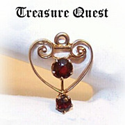 "Small ANTIQUE EDWARDIAN 14K Gold & Garnet ""Heart Shaped"" Lavaliere!"
