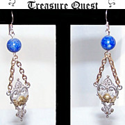 Lengthy GOLD FILLED, Silver & Blue Sodalite Earrings Featuring Edwardian Cherub Drops!