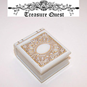 "Wonderful ART DECO Cream Celluloid ""Book Shaped"" Ring Box from California!"