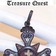 C.1890 Italian SILVER & Micromosaic Religious Cross with Center Relic!