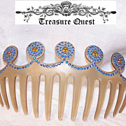 Huge Vintage Celluloid/Hard Plastic & Rhinestone Hair Comb!