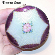 Breathtaking STERLING SILVER & Enamel Compact by The Thomae Company!