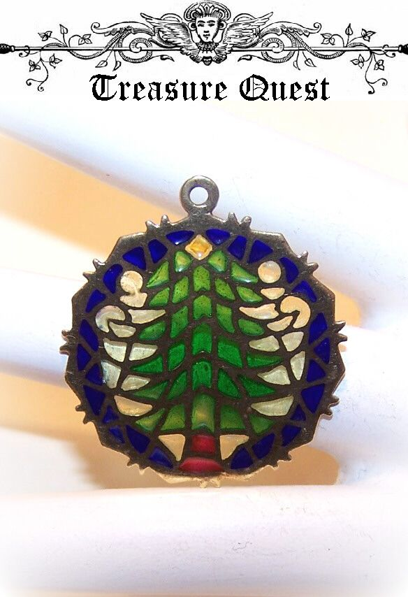 Lovely 1960s 14K Gold & PLIQUE A JOUR Charm/Pendant - Christmas Tree!