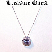ESTATE FRESH! 14K Gold, .50 CT  Tanzanite & .06 CT TW Diamond Pendant with Chain!