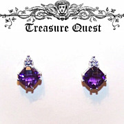 Stunning 14K Gold, Multi-Faceted 2.03CT TW  Amethyst & Diamond Pierced Earrings (Studs)!