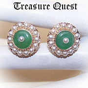 VICTORIAN REVIVAL 14K Gold, Pearl & Jade/Jadeite Screwback Earrings!