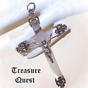 ANTIQUE EDWARDIAN French Silver & Mother of Pearl Crucifix/Cross!