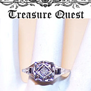 ART DECO 18K Gold, .22CT TW Diamond & Sapphire Filigree Engagement Ring!