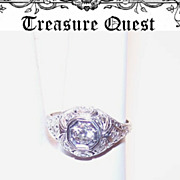 Stunning ART DECO Platinum & .37CT TW Diamond Engagement Filigree Ring!