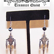 Interesting VICTORIAN REVIVAL Silver & Scottish Agate Drop Earrings!