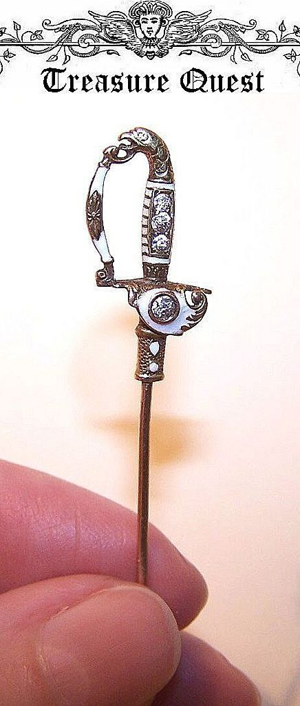 French  ANTIQUE VICTORIAN 18K Gold, Enamel & Diamond Sword Stick Pin!