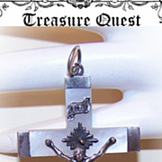 Dated 1883 FRENCH Silver & Mother of Pearl Cross!