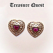 ADORABLE 10K Gold & Synthetic Ruby Heart Shaped Pierced Earrings!