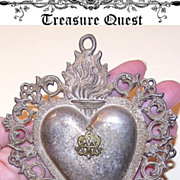 SOLD Fabulous Antique French Silver Religious EX VOTO!