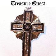Scrumptious ANTIQUE VICTORIAN 10K Gold & Black Enamel Cross!