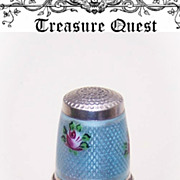 SOLD Adorable STERLING SILVER & Enamel Thimble - Blue with Pink Roses!