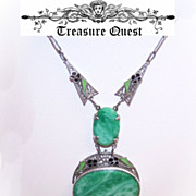 Stunning ART DECO Rhodium, Enamel & Glass Necklace!