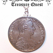 Dated 1780 Austrian COIN SILVER Maria Theresa Thaler Set as a Pendant!