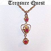 Adorable 10K Gold & Synthetic Ruby Drop Lavaliere - Heart Shaped Center!
