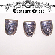 Set of 5 VINTAGE Mexican Sterling Silver Buttons - Aztec God Faces!