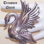 Vintage Mexican STERLING SILVER Pin/Brooch - Swan with Outstretched Wings!
