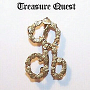 "Late 1800s YUKON GOLD NUGGET Initial Pin - the Letter ""R""!"