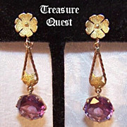 Stunning ANTIQUE VICTORIAN 14K Gold & 9.25 CT TW Alexandrite Drop Earrings!