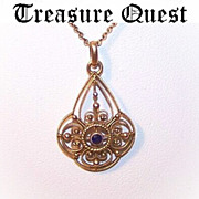 Antique Edwardian 9K Gold & Sapphire Filigree Lavaliere Pendant with Chain!