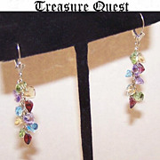 "SALE STUNNING 14K Gold & ""Heart Shaped"" Gemstone Cascade Earrings!"