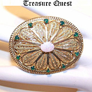 Vintage 18K Gold, Emerald and Opal Filigree Brooch/Pendant Combo!