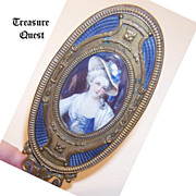 FRENCH Gilt Bronze, Enamel & Hand Painted Portrait Miniature Brush Handle!