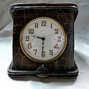 Art Deco Swiss Clock in Alligator Case