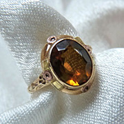 Art Deco 10K Gold Citrine Ring