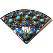 1920's Chinese Silver Vermeil Tuquoise and Enamel Filigree Brooch Pin