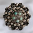 Antique 800 Silver & Turquoise Brooch