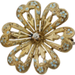 Antique Victorian 10k Gold Flower Brooch with Diamond & Blue Enamel