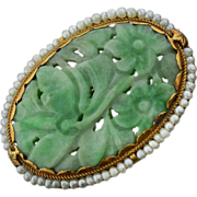 Antique 14k Gold & Seed Pearl Carved Jade Brooch