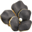 Art Nouveau 10k Gold & Black Enamel Pansy Brooch