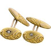 Antique Victorian 14k Gold & Diamond Cufflinks