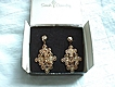 Vintage Sarah Coventry Golden Petals gold tone dangle earrings in original box