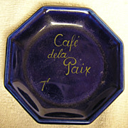 Vintage Collectible Cobalt Blue Octagon Paris France Cafe de la Paix Plate